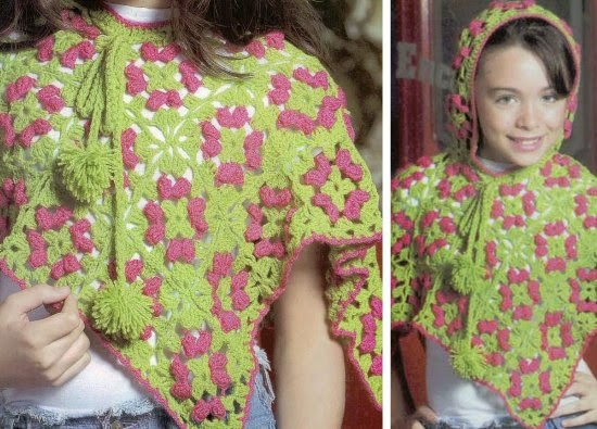 Poncho con capucha y flores infantil