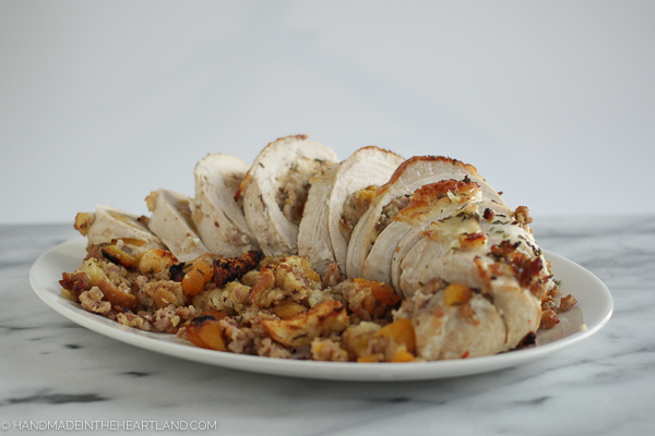 stuffed and rolled turkey breast for Thanksgiving dinner