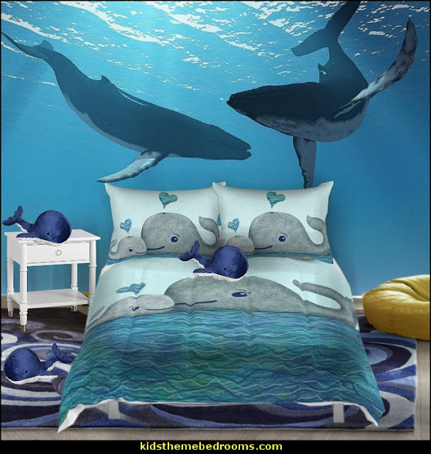 whale bedding whale bedroom  whale theme bedroom ideas - whale theme decor - whale wall murals - underwater theme bedrooms - whale theme nursery.- whales bedding - whales wall decal stickers - boat beds -