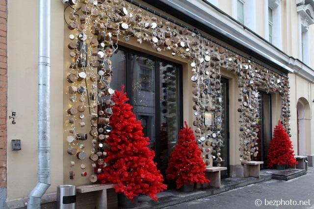 новогоднее оформление фасада