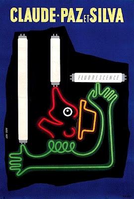 Affiche Claude-Paz et Silva - Jean Colin - Tube fluorescent