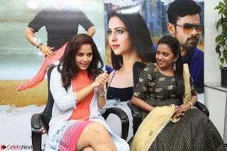 Actress Suma in Black Salwar Suit and Anusuya in orange Dress at winner movie press meet part 2 February 2017 (4).JPG