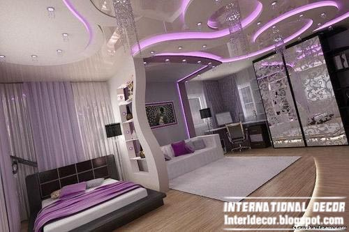Contemporary Bedroom Design Ideas With Unique Ceiling And Purple Led Lighting