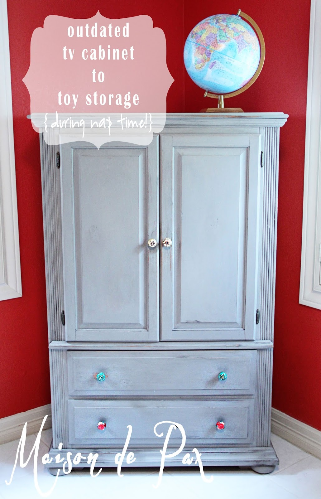 Gray Toy Storage Armoire Makeover Maison De Pax