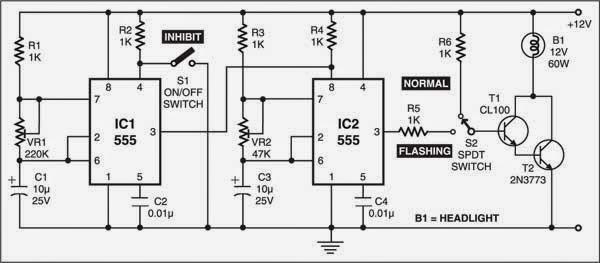Flashing Headlight For Motor bikes Circuit Diagram