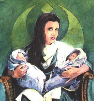 Leia Organa e os gêmeos Solo