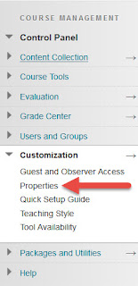A screenshot of Blackboard Learn - Properties