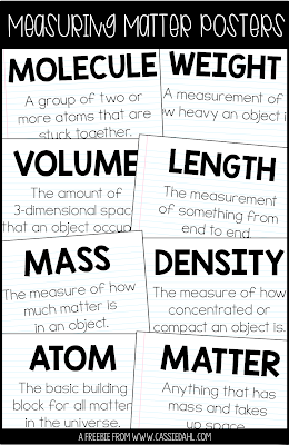 Grab these free Measuring Matter posters to kick off your Matter unit. The post also has tons of ideas about how you can integrate measuring matter centers into your unit.