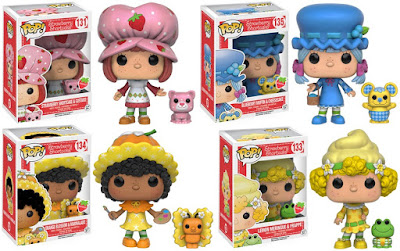 Strawberry Shortcake Pop! Series by Funko - Strawberry Shortcake with Custard the Cat, Blueberry Muffin with Cheesecake the Mouse, Orange Blossom with Marmalade the Butterfly & Lemon Meringue with Frappe the Frog