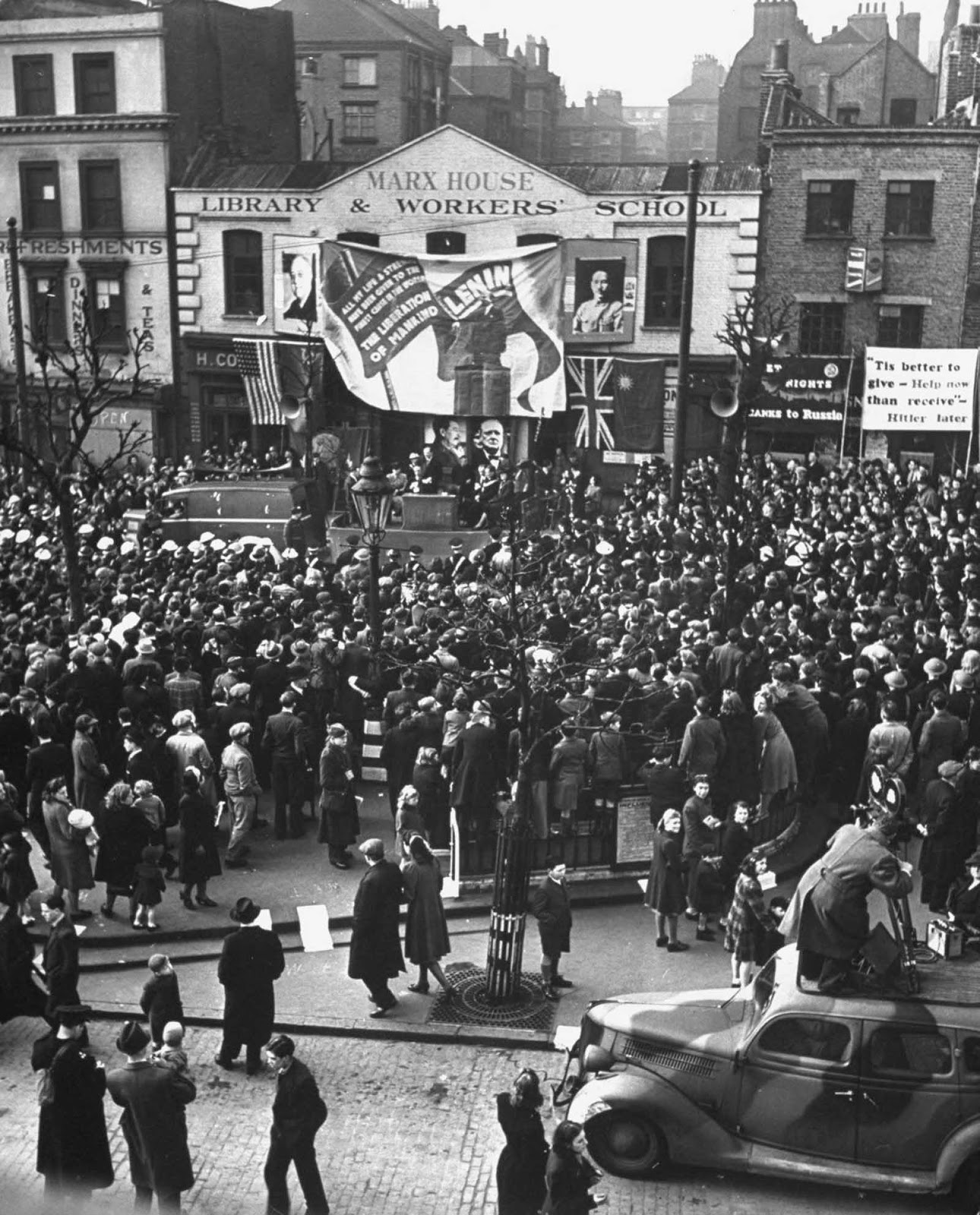 Mass demonstration at Clerkenwell Green in front of Karl Marx's house, now the headquarters of the Communist Party in London. 1942.