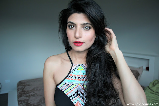 Loreal paris cherry matte addiction lipstick on indian skin