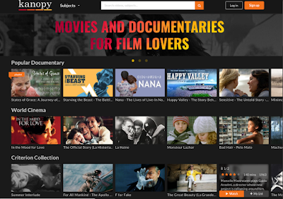 kanopy landing page featuring film categories such as popular documentary, world cinema, and criterion collection films
