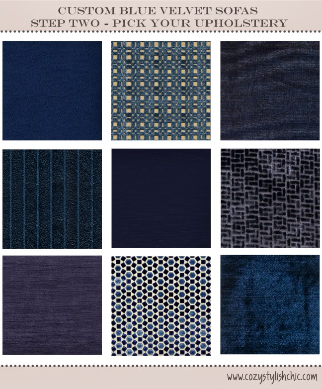Solid blue velvet and cut velvet selections - perfect for a blue velvet sofa, curated by Cozy•Stylish•Chic