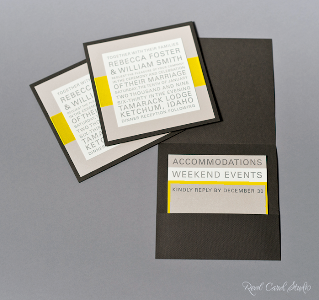 Pocket folder, letterpress printing, gray, yellow, satin ribbon