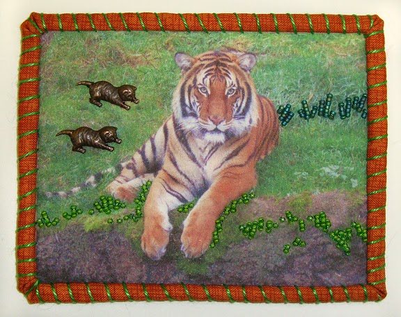 Robin Atkins, Travel Diary Quilt, detail, Berani, a tiger at Pt. Defiance Zoo