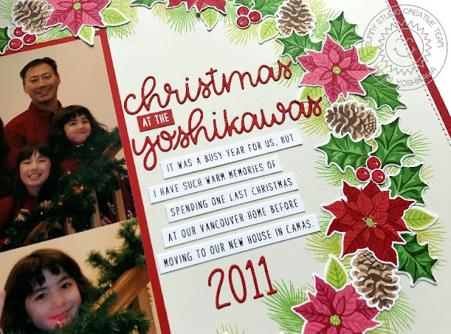 Sunny Studio Stamps: Christmas Trimmings & Petite Poinsettias Holiday Scrapbook Page by Mendi Yoshikawa