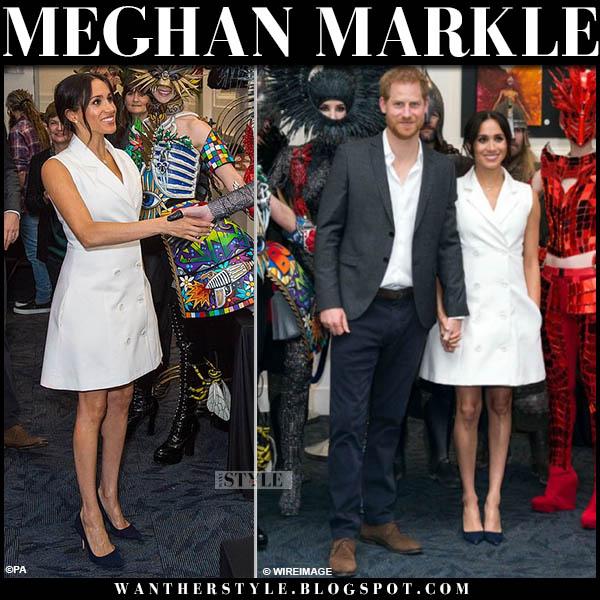 Meghan Markle in white sleeveless maggie marilyn mini blazer dress new zealand tour style october 29