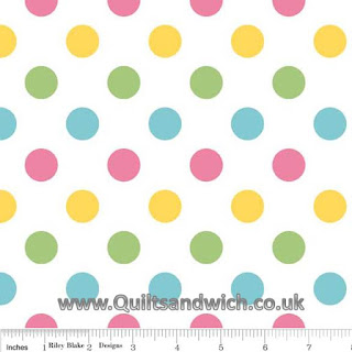 Riley Blake Multi dot Girl www.Quiltsandwich.co.uk extra wide quilt backing