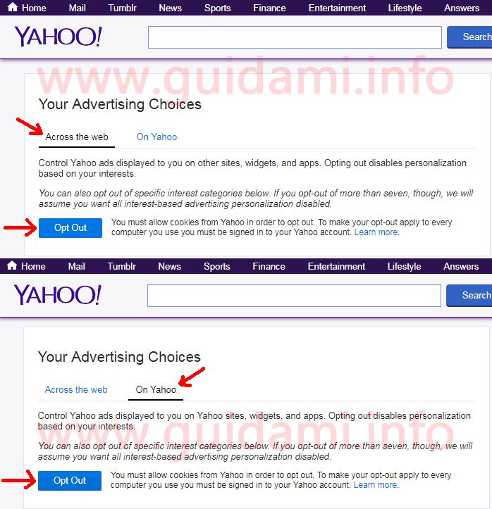 Pagina sito web Yahoo per disattivare pubblicità basata sugli interessi