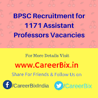 BPSC Recruitment for 1171 Assistant Professors Vacancies
