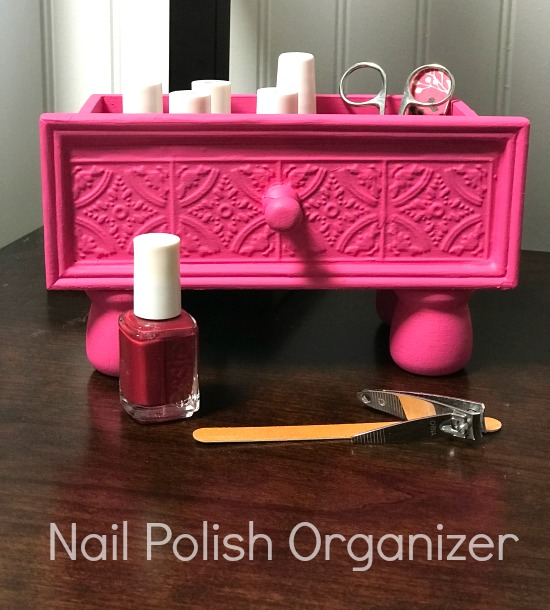 Pink Repurposed Drawer Nail Polish Organizer