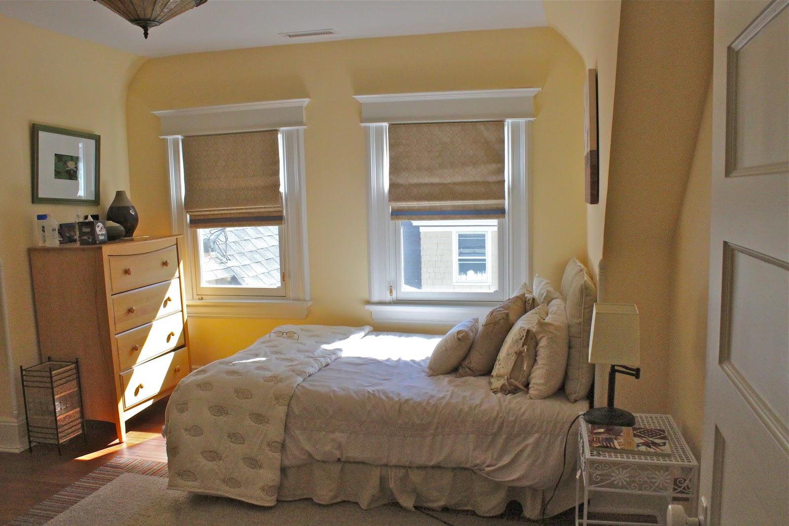 Simple Flat Roman Shades Add To The Serene Feeling In This Bedroom