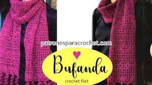 Bufanda Crochet Filet con Flecos Tirabuzones / Paso a paso