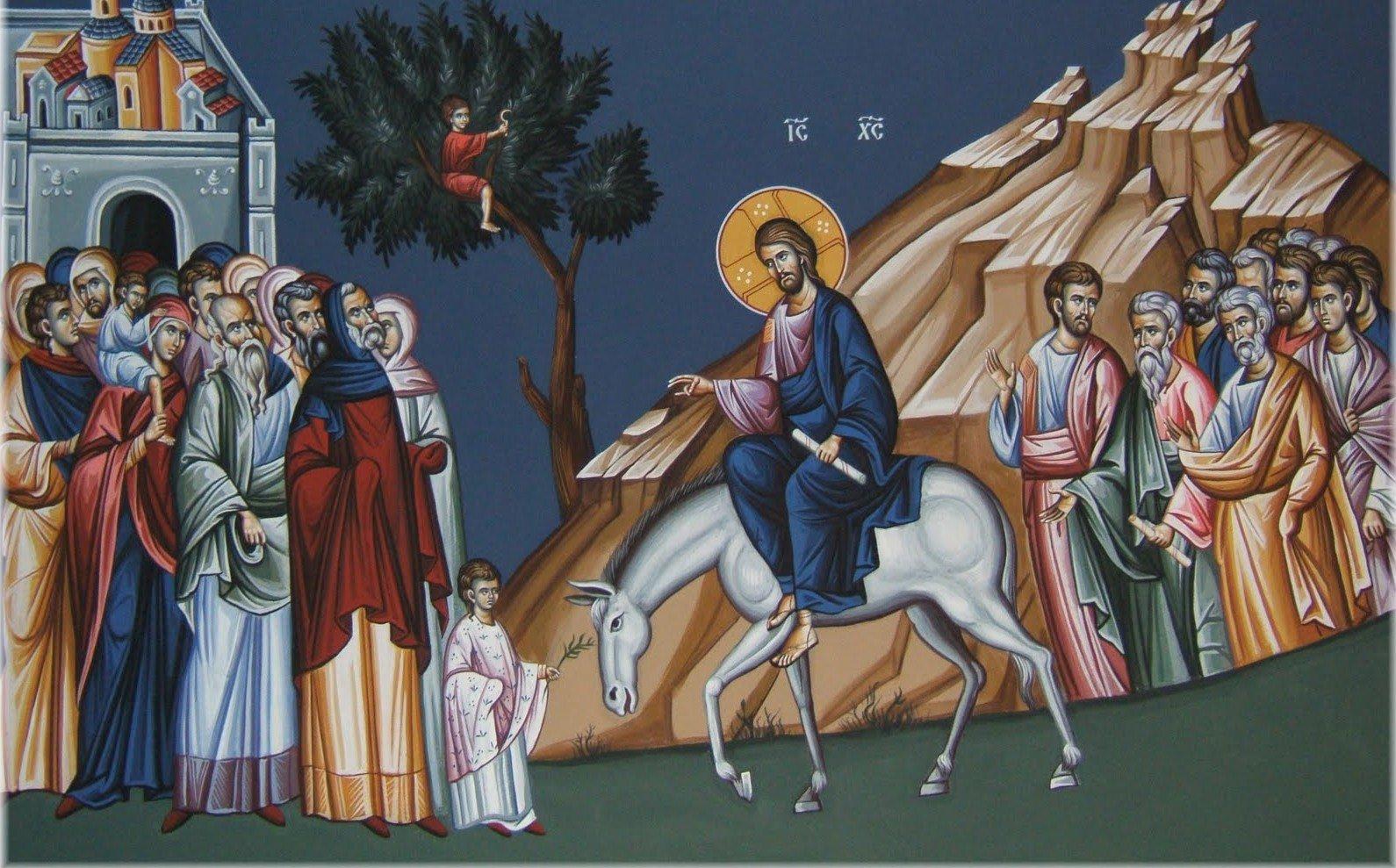 Resultado de imagen de Jesús entrando en Jerusalén sobre un asno
