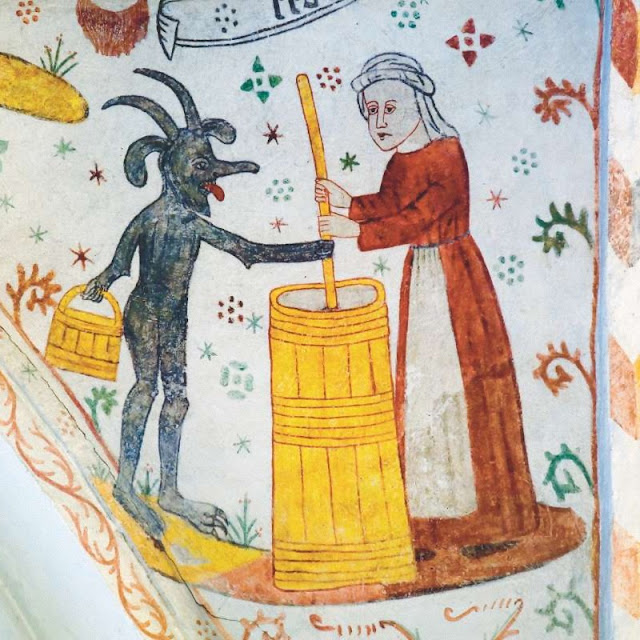 Kalkmaleri i Tingsted kirke, djævelen forstyrrer kvinde ved smørkærnen