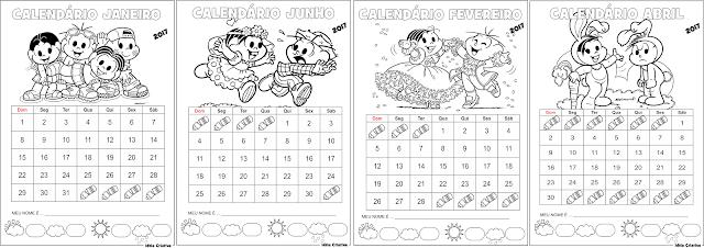 Calendários Turma da Mônica 2017  para imprimir