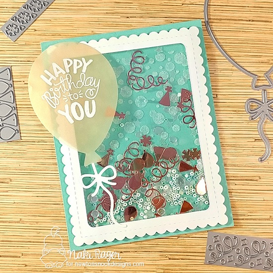 Birthday Shaker Card by Naki Rager | Uplifting Wishes Stamp Set, Bubbly Stencil and Balloon Shaker Die Set by Newton's Nook Designs #newtonsnook #handmade