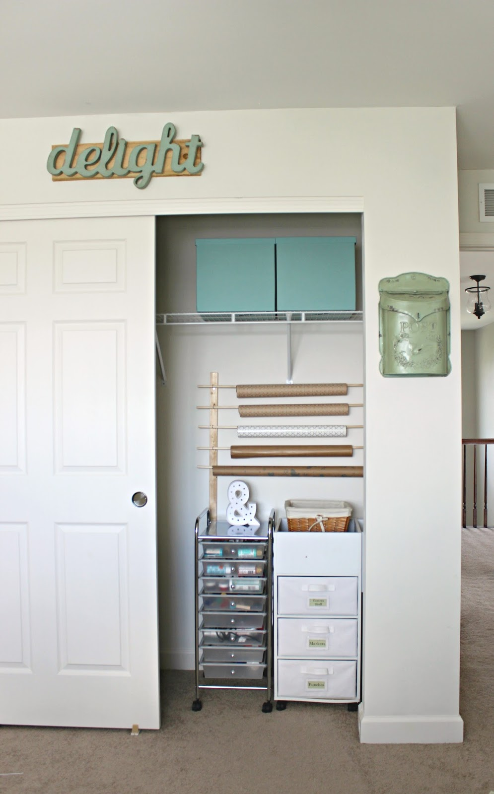 wrapping paper storage closet organizer