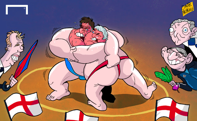 Sam Allardyce and Steve Bruce playing sumo