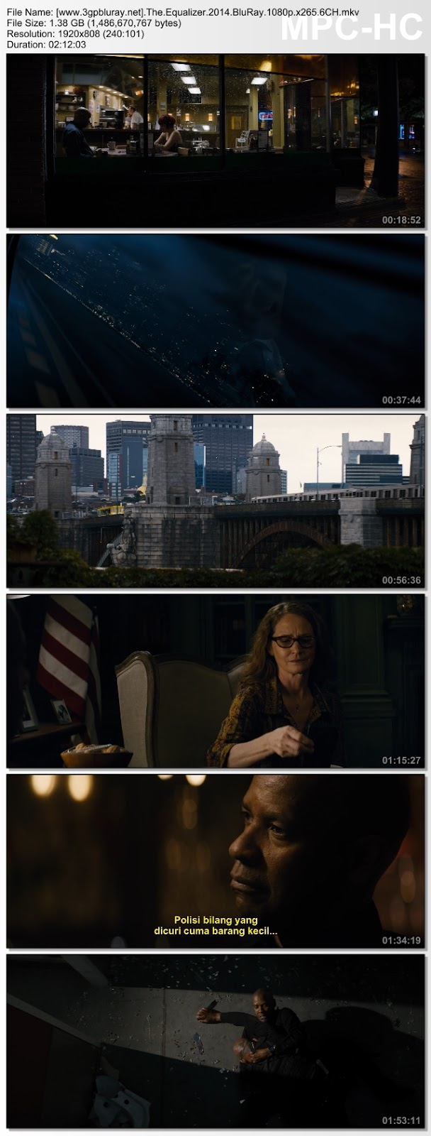 Screenshots Download Film Gratis Hardsub Indo The Equalizer (2014) BluRay 480p MP4 Subtitle Bahasa Indonesia 3GP