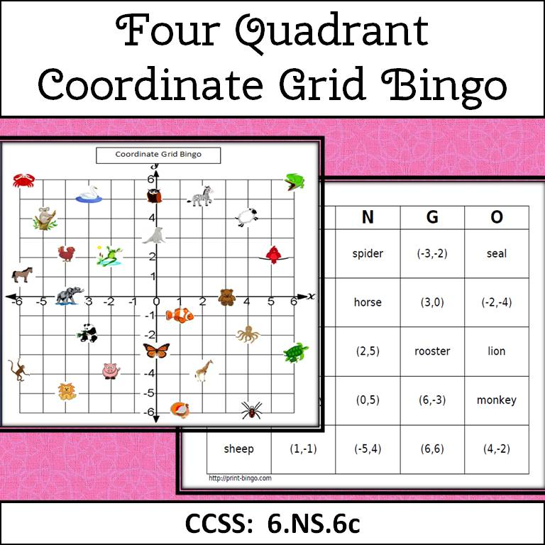 Simone 39 S Math Resources 4 Quadrant Coordinate Grid Bingo