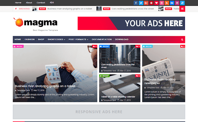 Magma is the virtually advanced as well as best blogger template nosotros convey e'er made Free Download Magma