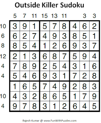 Outside Killer Sudoku (Fun With Sudoku #46) Puzzle Solution