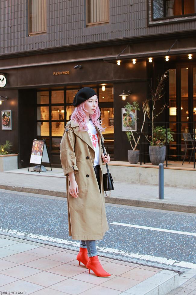 Japanese Fashion Blogger,MizuhoK,20180505OOTD,Zaful=trench coat,SheIn=girls power tee,Bershka=gray jeans,H&M=red sock boots,Light in the box=crossbody, Black beret