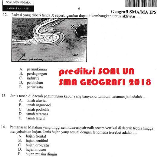 Bocoran Soal Un Geografi Sma Smk 2018 Info Guru Terbaru