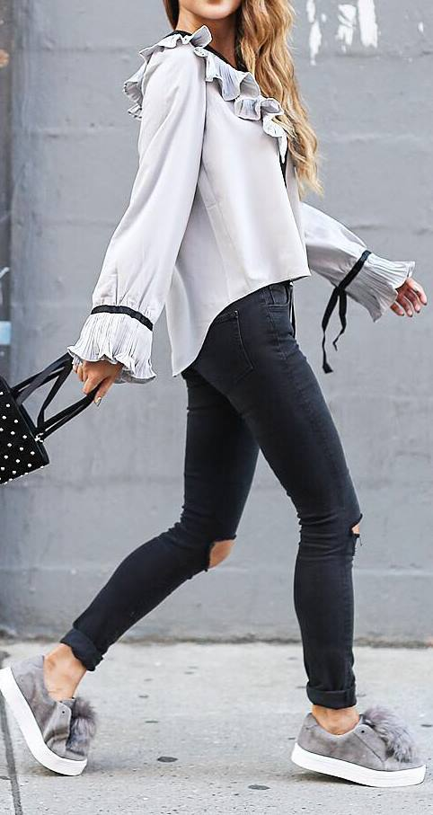 casual style addict: blouse + skinny