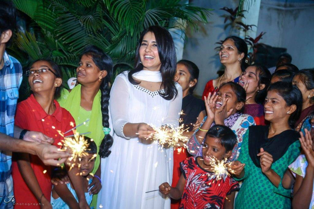 Rashi Khanna Diwali Celebration In White Dress