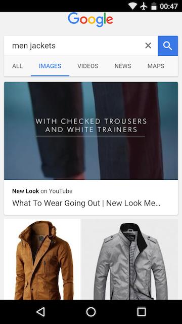 Google imagem agora vai mostrar imagem youtube baseado em palavras chaves