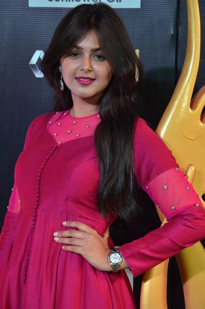 Indian Actress Monal Gajjar At IIFA Awards 2017 In Maroon Dress