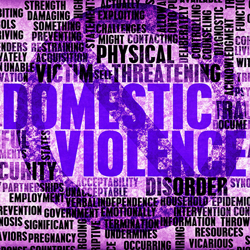 Poster with images related to domestic violence with a circle and cross out mark, colorized purple