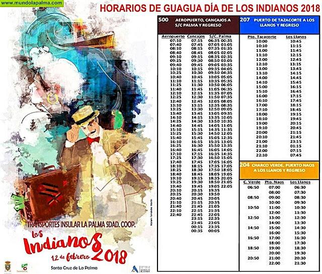 Horarios de Guagua para los Indianos de La Palma 2018