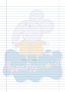 Folha Papel Pautado Emily Elefante PDF para imprimir na folha A4