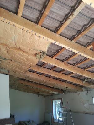 b t s enl vement et vacuation plafond lambris changement laine de verre mise en place. Black Bedroom Furniture Sets. Home Design Ideas