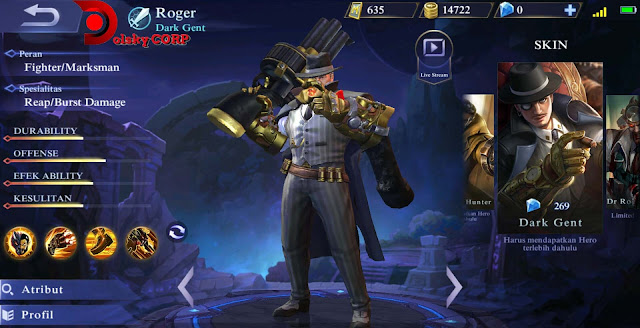 Mobile Legends : Hero Roger ( Dark Gent ) Full Attack Builds Set up Gear