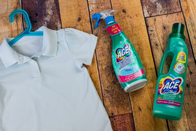 ACE Stain Remover Spray and ACE for colours next to a school t-shirt