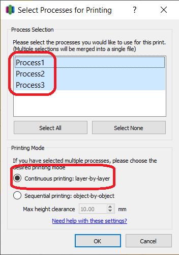 Slicing multicolor print